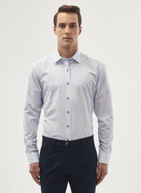 Altınyıldız Classics Erkek Gömlek Beyaz A.Mavi