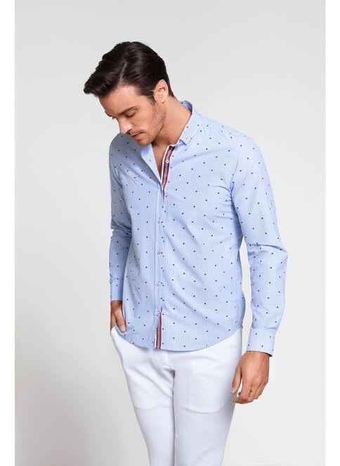 Avva Erkek Çiçek Desenli Gömlek Mavi