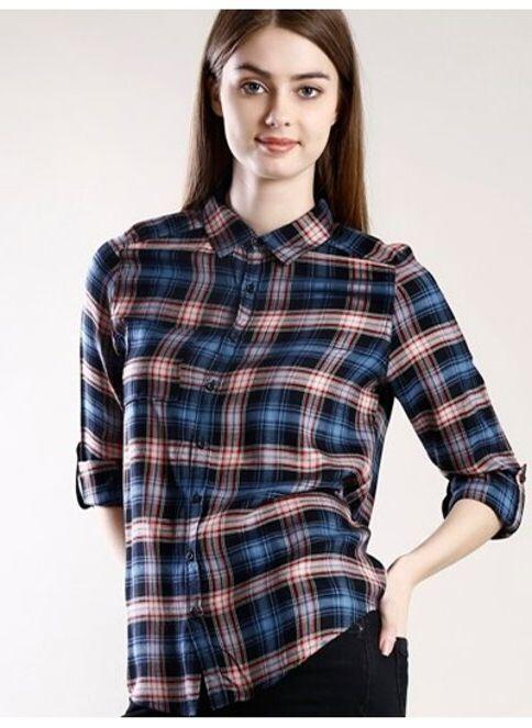 Colin's Kadın Kareli Gömlek Navy