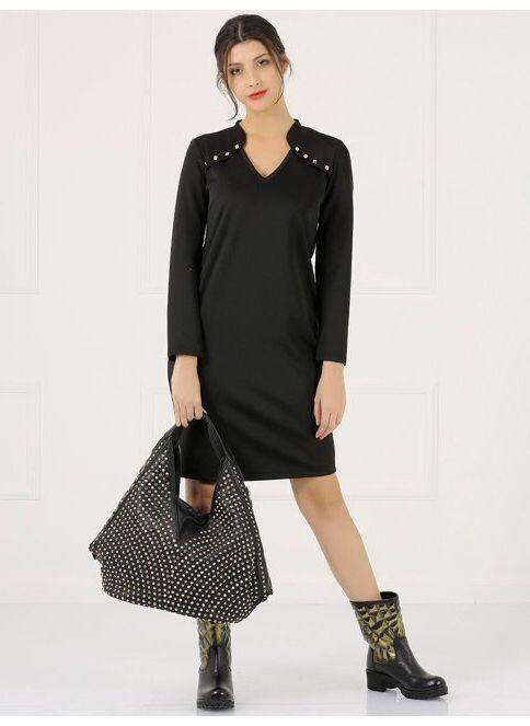 Faik Sönmez Kadın Büyük Beden Elbise Siyah
