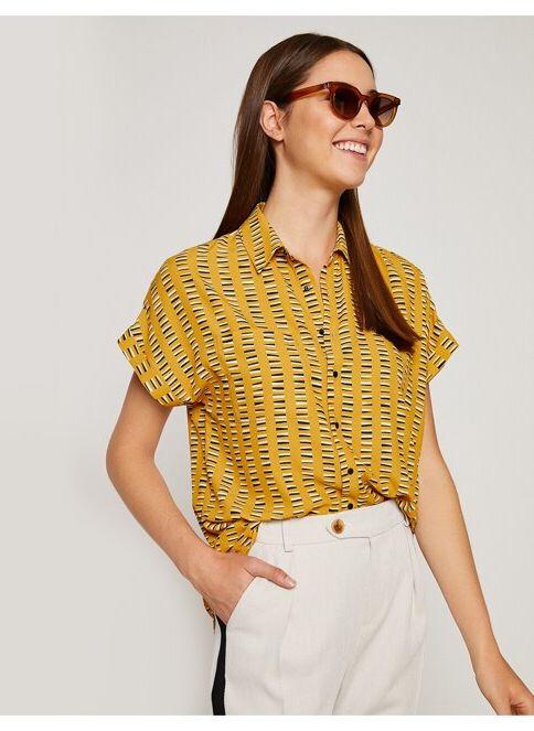 Koton Kadın Kısa Kollu Gömlek Sarı Desenli
