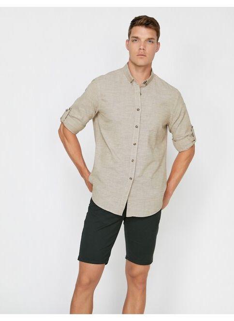 Koton Erkek Gömlek Bej İndirimli Fiyat
