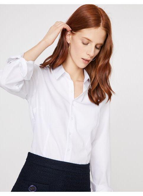 Koton Kadın Kol Detaylı Gömlek Beyaz