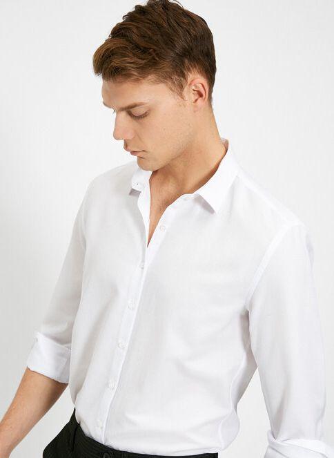Koton Erkek Klasik Yaka Gömlek Beyaz/000