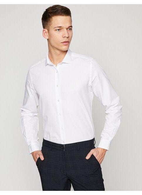 Koton Erkek Klasik Yaka Uzun Kollu Gömlek Beyaz