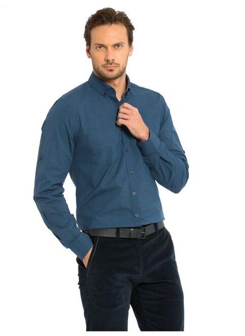 LC Waikiki Erkek Uzun Kollu Gömlek Navy-indigo Chck