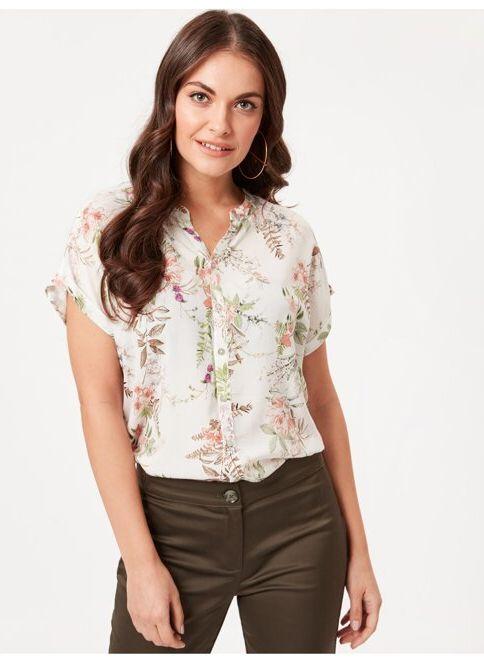 LC Waikiki Kadın Gömlek Ecru Prınted