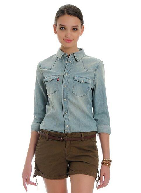 Levi's® Kadın Jean Gömlek   Tailored Western Blues
