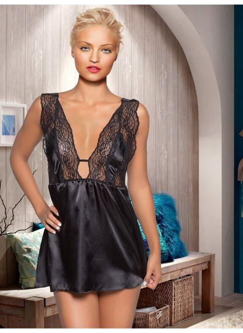 Miorre Kadın Saten Gecelik Siyah. İndirimli Fiyat