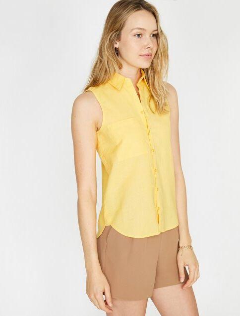 Koton Kadın Cep Detaylı Gömlek Sarı/160