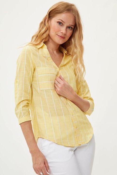 DeFacto Kadın Çizgili Gömlek Sarı